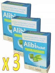 Alibi - Alibi pocket Assainit durablement l'haleine Pour une haleine PURE et SÛRE - Extrait de thé vert et d'huile essentielle de persil - Lot de 3 boites de 12 Pastilles à sucer de la marque Alibi image 0 produit