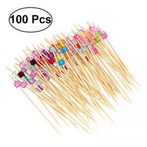 BESTONZON 100 x bâtonnets de cocktail en bois de fruits en bambou avec des perles colorées acryliques Party cure-dents, sandwich, boisson Stirre, Cocktail Party Supplies (multicolore) de la marque BESTONZON image 0 produit