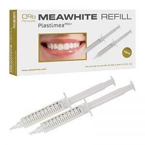 KIT Recharge Meawhite Blanchiment dentaire à domicile Gel blanchissant Recharge 100% SANS peroxyde Dents blanches en 5 à 10 jours (2 seringues 10 ml) Normes CE, 100% sûr pour vos dents de la marque Plastimea image 0 produit