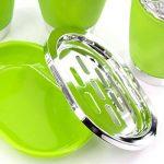 Lot d'accessoires pour salle de bain en plastique, 4pièces comprenant distributeur de savon, porte-savon, porte-brosses à dents et gobelet de lavabo vert de la marque Poligino image 2 produit