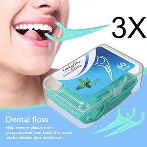 LuckyFine 3 x Fil Dentaire 60 Pcs Porte-Fil Dentaire Interdentaires Flosser Fil Dentaire Sticks Jetable- Parfum Frais de Menthe de la marque LuckyFine image 0 produit