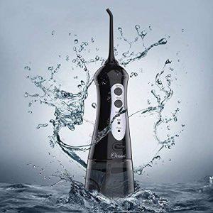 Ovonni Hydropulseur Jet Dentaire Oral Electrique Portable Rechargeable, Irrigateur avec Buse Rotation 360° + 6 Buses de Rechange, Grand Réservoir d'eau 200ml+ Housse de Transport (Noir) de la marque Ovonni image 0 produit