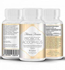 Probiotique acidophilus - 10 milliards de cellules pour produire des bonnes bactéries - prévient/combat les problèmes/maladies - favorise la digestion/renforce le système immunitaire - 90 comprimés de la marque Fitness Finesse image 0 produit
