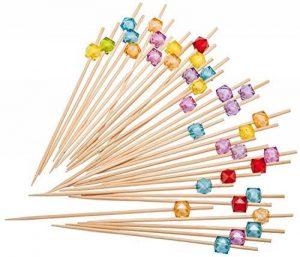 PuTwo Pics à Cocktail Cure-dents en Bambou 12.5 cm Pour Fête Anniversaire Lot de 100 - Couleurs Mixte de la marque PuTwo image 0 produit
