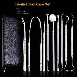 Symboat 9pcs set outils de soins bucco-dentaires dentaires choisir des dents en acier inoxydable avec la dentisterie miroir d'inspection de la marque image 0 produit