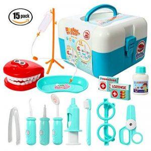 ThinkMax 15 Pcs Doctor Play Set, kit de dentiste en plastique, kit de jeu de rôle de jouets médicaux pour les enfants et les enfants de la marque ThinkMax image 0 produit