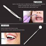 WisFox Kit d'hygiène dentaire Kit de outils de dentiste Premium Instruments dentaires Détection de tartarre en acier inoxydable de haute qualité, anti-miroir anti-brouillard, pincettes, coupe dentaire / scalaire avec étui de transport en cuir gratuit de l image 3 produit